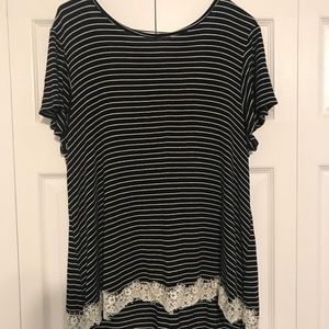 Striped Lace Top
